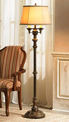 Traditional Floor Lamp Candelabra Style 4-Light Italian Bronze Bell Shade for Living Room Reading Bedroom - Barnes and Ivy