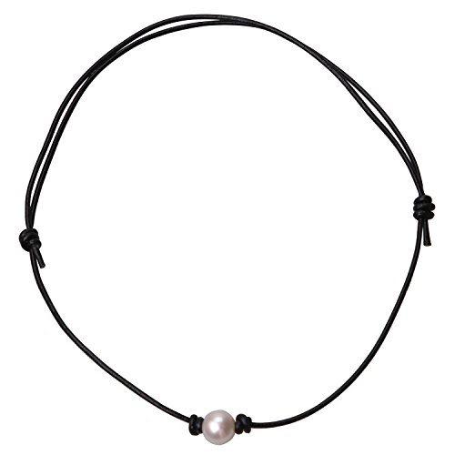 - Cultured Freshwater Pearl Leather Choker Necklace on Black Leather Adjustable Girls Jewelry