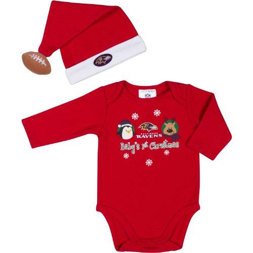 前文シャンプー経度NFL Baltimore Ravens赤ちゃんの1stクリスマス長袖ボディスーツとキャップセット2ピース、レッド