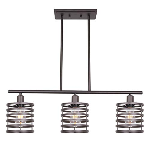 VINLUZ 3 Lights Linear Chandeliers Oil Rubbed Bronze Modern Table Cage Light Rustic Kitchen Island Pendant Lighting Industrial Farmhouse Ceiling Light Fixtures Hanging Dining Room Living Room Hallway ()