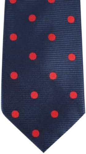 Navy/Red Ribbed Polka Dot Tie by David Van Hagen