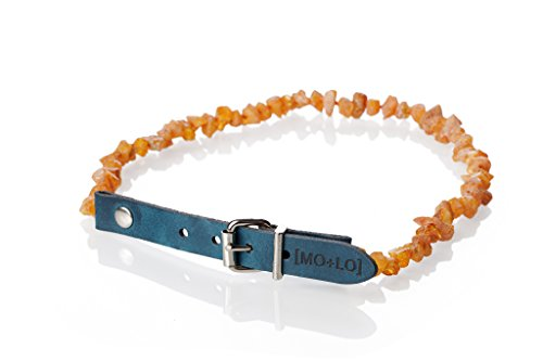 Mo + Lo Naturals Natural Raw Baltic Amber Collar - For Dogs and Cats - Nautical Blue - 100% Authentic, (S/12-14