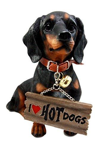 Atlantic Collectibles Adorable Black & Tan Dachshund Dog Welcome Statue 10.5