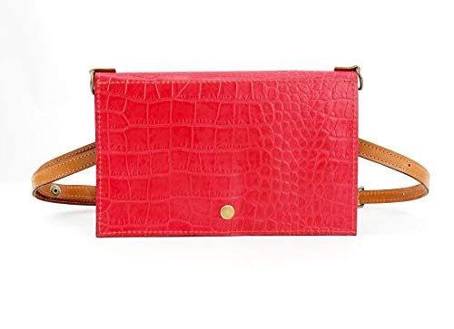 Festival Belt Bag converts to Cross-Body Purse in Red Croc-Embossed - Croc Leather Handbag