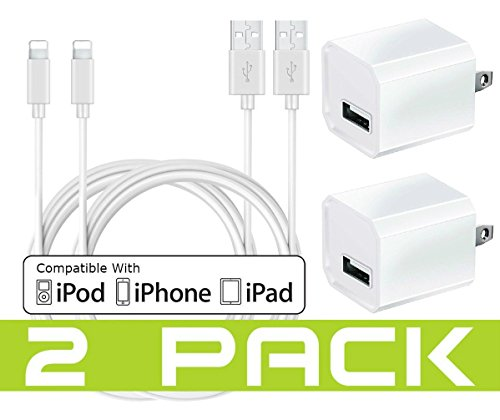 USB Wall Charger, Certified Tricon 5W/1A USB Power Adapter Portable Charger Cube 2-Pack USB Charging Adapter Travel Wall Chargers with 2-Pack 10-Feet Lightning Cables Charge Sync (White) by Tricon