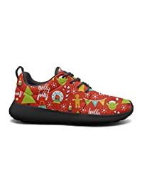 FEWW11 Women Cute Lightweight Shoes Sneakers Red Cute Christmas Decoration Breathable Gym Lace-Up