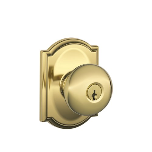 Schlage F51A PLY 605 CAM Plymouth Knob with Camelot Trim Keyed Entry Lock, Bright - Bath Plymouth Lighting