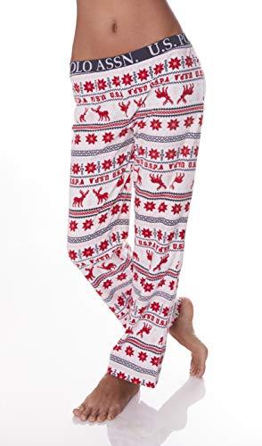- U.S. Polo Assn. Womens Super Soft Winter Waffle Print Lounge Sleepwear Pajama Pant Ivory Large