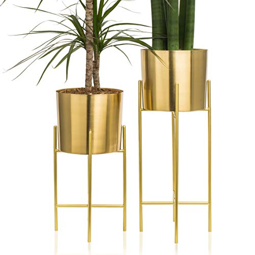 Set 2 Modern Mid Century Brass Gold Planters with Stand, 7 Inch Large Planter Pots with Metal Stands, Flower Pot Living Room Decor for Orchid, Aloe, Large Cactus Plants, 16 and 20 Inch Tall
