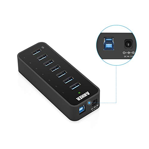 Anker 7-Port USB 3.0 Data Hub with 36W Power Adapter and BC 1.2 Charging Port for iPhone 7/6s Plus, iPad Air 2, Galaxy S Series, Note Series, Mac, PC, USB Flash Drives and More