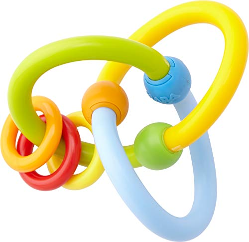 HABA Clutching Toy Roundabout - Flexible Plastic Teether with 3 Rattling Rings - Ages 6 Months +