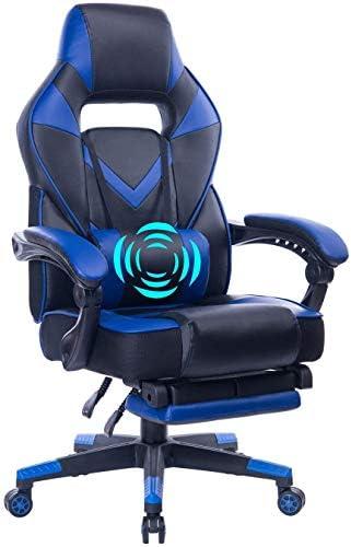 HEALGEN Reclining Gaming Chair with Adjustable Massage Lumbar Pillow and Footrest- Memory Foam PC Computer Racing Chair – Ergonomic High-Back Desk Office Chair 9015Blue