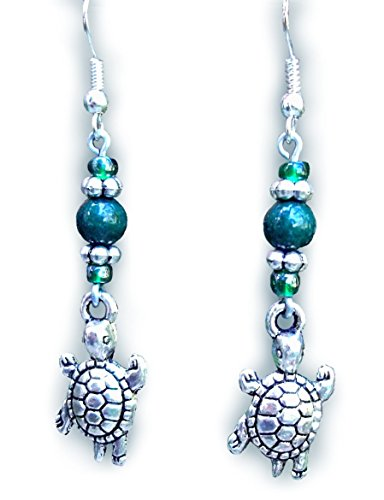 Antiqued Silver and Green Turtle Handmade Beaded Drop Earrings