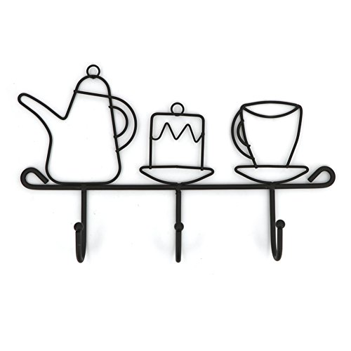- OMMITO Hooks Rack Hanger, Wall Hooks Kitchen Home Restaurant Keys Coats Cups Decorative Decor Wall Mounted Iron Small