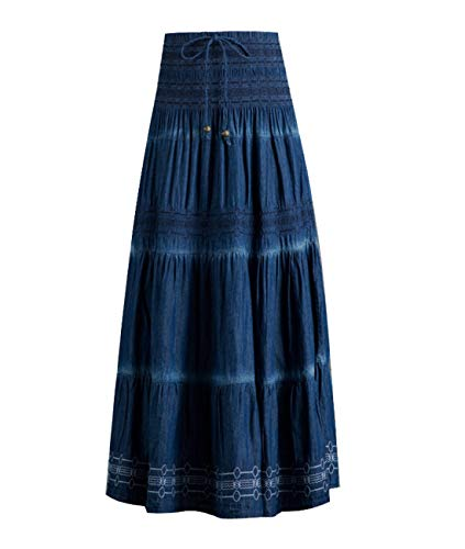 (Femirah Women's Bohemian Embroidered Flare A-Line Smocked Waist Long Maxi Denim Skirt (Waist 26.4