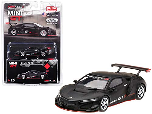 True Scale Miniatures Honda NSX GT3 Presentation Matt Black Limited Edition to 3,600 Pieces Worldwide 1/64 Diecast Model Car MGT00025