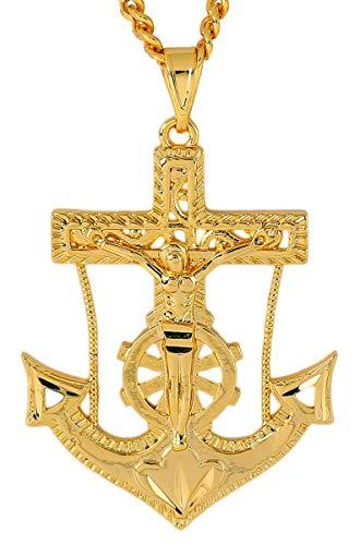Anchor Pendant Necklaces for Men 18K Gold Cross Necklace Religious ()