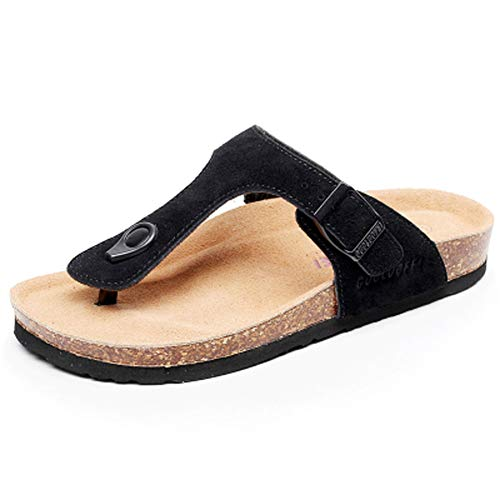 Asifn Women's Sandal Cork Sandals Slide Flat Strap Buckle Girl Leather Footbed Adjustable Casual Double Toe Shoes Summer Open Platform Suede Slides Black(8.5 US Men/9 US Women,25.5 cm Heel to Toe