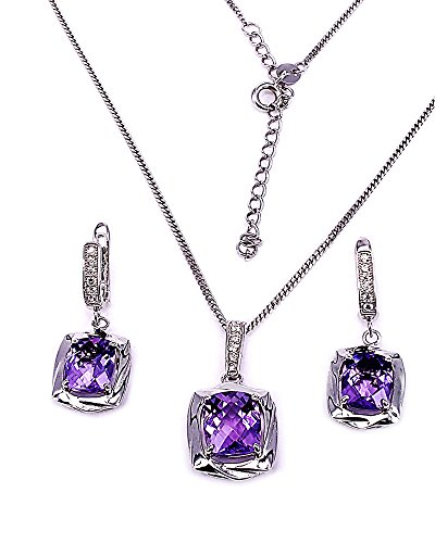 HAZZAR Real 925 Sterling Silver with Natural Purple Cushion-Shape Amethyst and White Cubic-Zirconia Nacklace & Dangle Earrings Set
