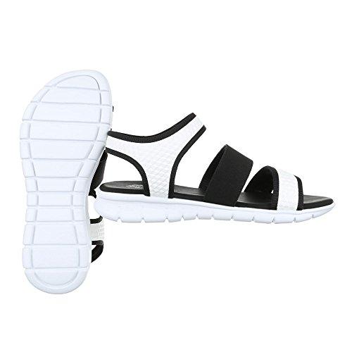 Ital-Design - Sandalias de vestir de Material Sintético para mujer blanco y negro