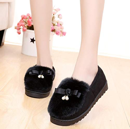 Plush Black Autumn FALAIDUO Warm Women Thickening Snow Fashion Flats Bowknot Shoes Lazy Winter Shoes pOgdOZ