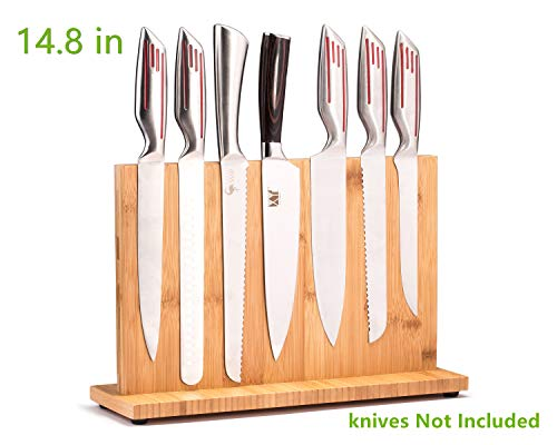 Magnetic Knife Block(Natural Bamboo),Knife Holder,Knife Organizer Block,Knife Dock,Cutlery Display Stand and Storage Rack,Kitchen Scissor Holder,Large Capacity,Double Side Strongly Magnetic(14.8inch)