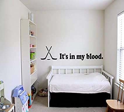 Amazon.com: Aihesui It\'s in My Blood Hockey Wall Decal - Sports ...