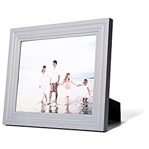 8x10 Light Gray Wood Picture Frame with Glass Front -European style Antiquated - Wide Molding - Table Desk Top or Wall Hanging