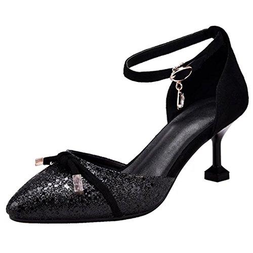 AIYOUMEI Glitzer High Heels mit Riemchen Pumps mit Schnalle und Strass Stilettos High Heel Damen Schuhe Schwarz