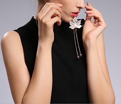 Female Gorgeous Accessories Leaf of Crystal?Opal Pendant Chain Rose Gold Plated Long Sweater Necklace