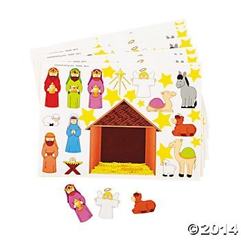 2 Dozen (24) Make a NATIVITY SCENE Sticker Sheets Religious Education - VBS CHRISTMAS Party Classroom Activity FAVORS - Holiday GIVEAWAY by OTC ()