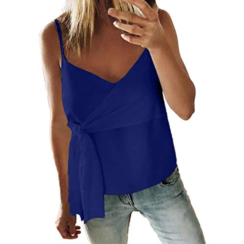 GOWOM Women Summer Fashion Casual Camis Sleeveless Crop Ruffle Solid Bandage -