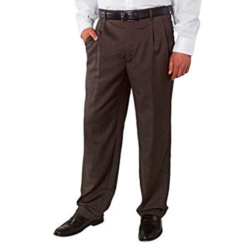 Kirkland Signature Men's Wool Gabardine Pleated Dress Slack Pant, Herringbone Brown, Size 36x30 (Mens Brown Dress Slacks)