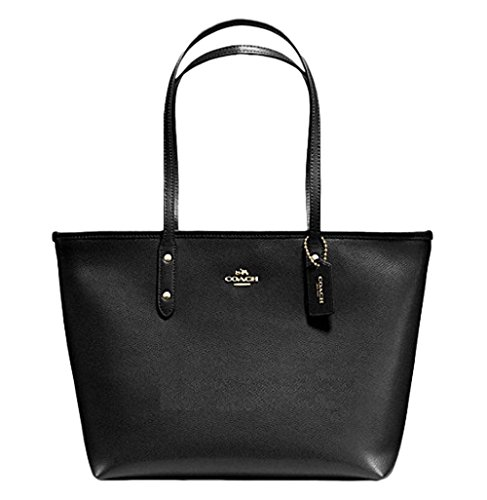 COACH CITY ZIP TOTE CROSSGRAIN LEATHER HANDBAG BLACK
