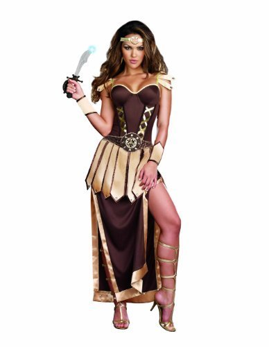 Dreamgirl Women's Remember The Trojans Dress, Brown/Gold, Small (Roman Goddess Costume)