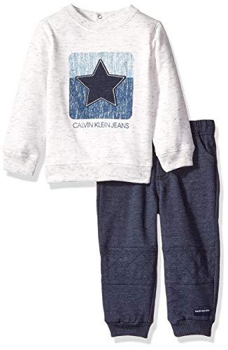 Calvin Klein Baby Boys 2 Pieces Jog Pant Set, Oatmeal/Peacoat, 3-6 Months ()