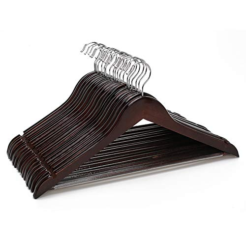(JS HOME 18 Pack Suit/Coat Hangers, Solid Wood Pants/Trousers Hangers with Notched Cut Shoulder, Non-Slip Tube for Pant Bar, Walnut Finish)