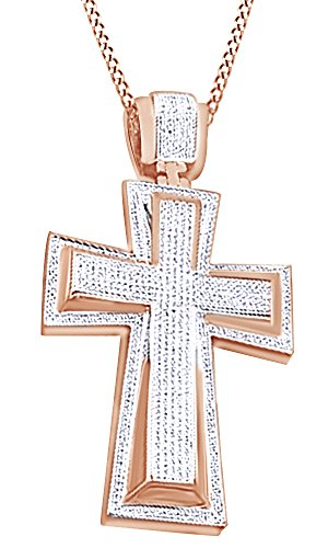 Round Cut Cubic Zirconia Cross Hip Hop Pendant in 14k Rose Gold Over Sterling Silver (1.59 Cttw) by AFFY