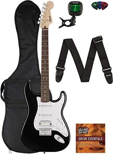 Fender Squier Bullet Stratocaster HSS Hard Tail - Black Bundle with Gig Bag, Tuner, Strap, Picks, and Austin Bazaar Instructional DVD