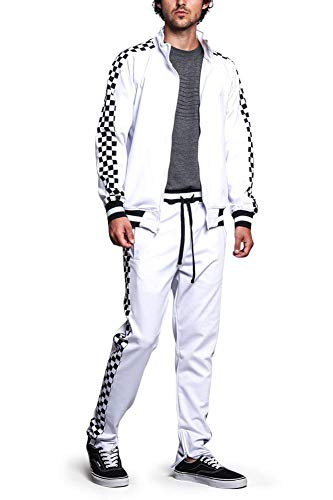 (G-Style USA Men's Checkered Track Suit ST500 - White - X-Large - O1B)