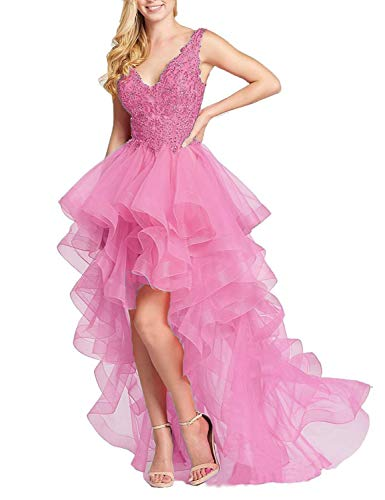 Aurora Bridal Womens Beading Tulle Homecoming Dresses 2019 High Low Prom Gown Size 10 Pink