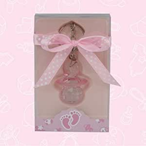 10 baby shower baby pink acrylic pacifier keychain favor