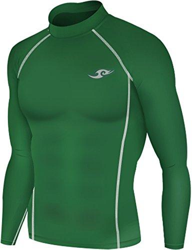 New 163 Green Skin Tights Compression Base Layer Long Sleeve Mens T Shirt (M)
