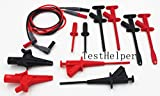 TestHelper Test-Kit-1 Master Electrical Test Lead Kit,Silicone Test Leads,Sharp Test Probe,Heavy Duty Plunger Style Hook Clip,Pincer Grip,Industrial Plunger Style Test Clips,Large Alligator Clamp