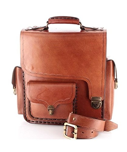 HANDMADE ARTIST PAINTER Genuine Leather Bag Satchel Bag: Amazon.co ...