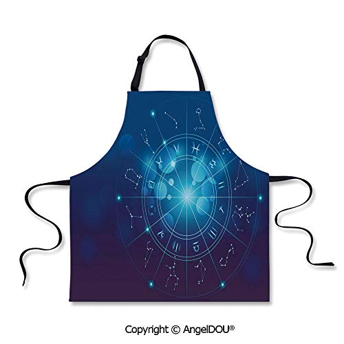 SCOXIXI Printed Unique Cool Kitchen Apron Fortune Telling Birth Chart Zodiac Signs in Space Geometrical Image Decorative Home Cooking Baking Waist Bib. -