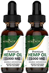 (2-Pack) Hemp Oil Extract for Pain & Stress Relief - 1000mg of Organic Hemp  Extract - Grown & Made in