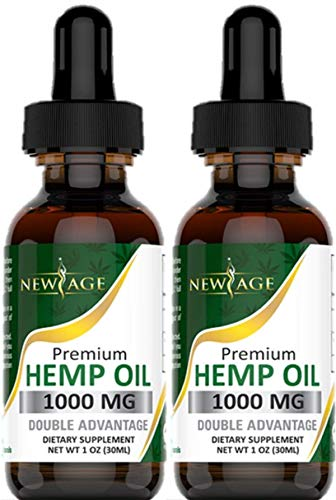 (2-Pack) Hemp Oil Extract for Pain & Stress Relief - 1000mg of Organic Hemp Extract - Grown & Made in USA - 100% Natural Hemp Drops - Helps with Sleep, Skin & Hair ()