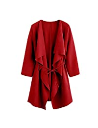 Pervobs Women Cute Loose Waterfall Collar Pocket Front Wrap Coat Jacket Outwear
