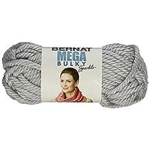 Bernat Mega Bulky Sparkle Yarn, 5.8 oz, Light Gray, Single Ball, Small